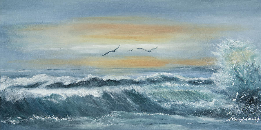 Surf Painting - High Surf by Shirley Lawing