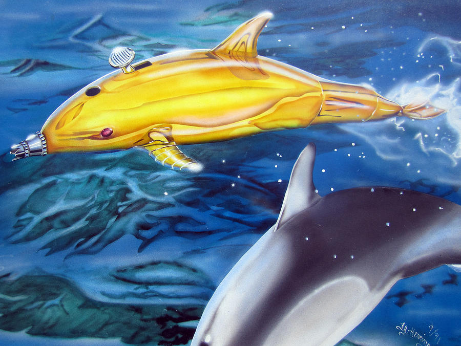 Technical Painting - High Tech Dolphins by Thomas J Herring