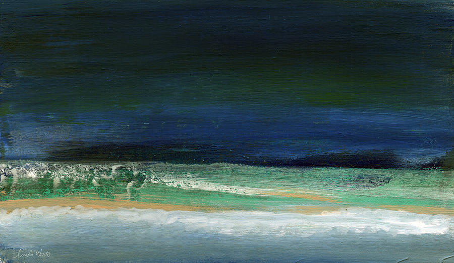 Ocean Painting - High Tide- Abstract Beachscape Painting by Linda Woods