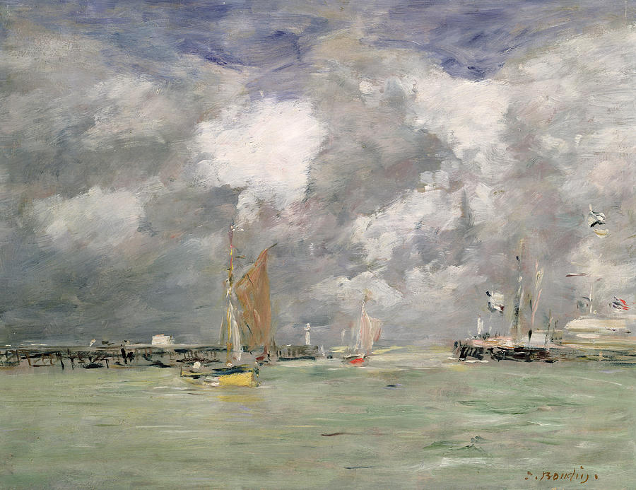 Boat Painting - High Tide At Trouville by Eugene Louis Boudin