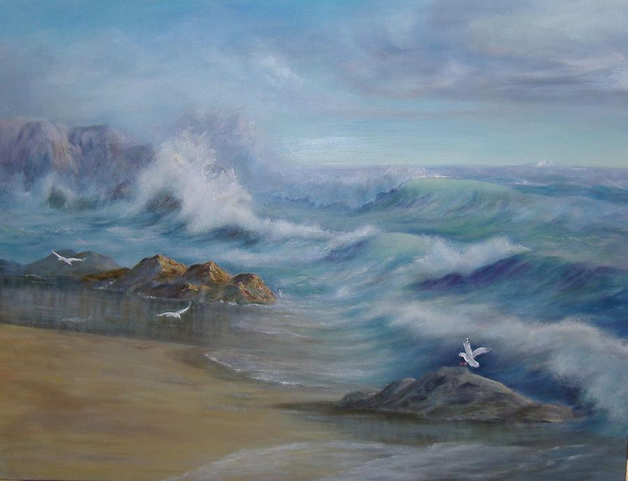 Seascape Painting - High Tide by Rita Palm
