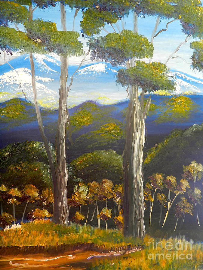 Landscape Painting - Highlands Gum Trees by Pamela  Meredith