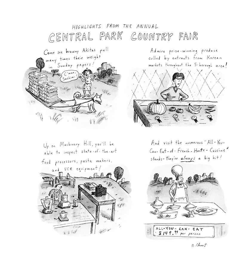 Highlights From The Annual Central Park Country Drawing by Roz Chast
