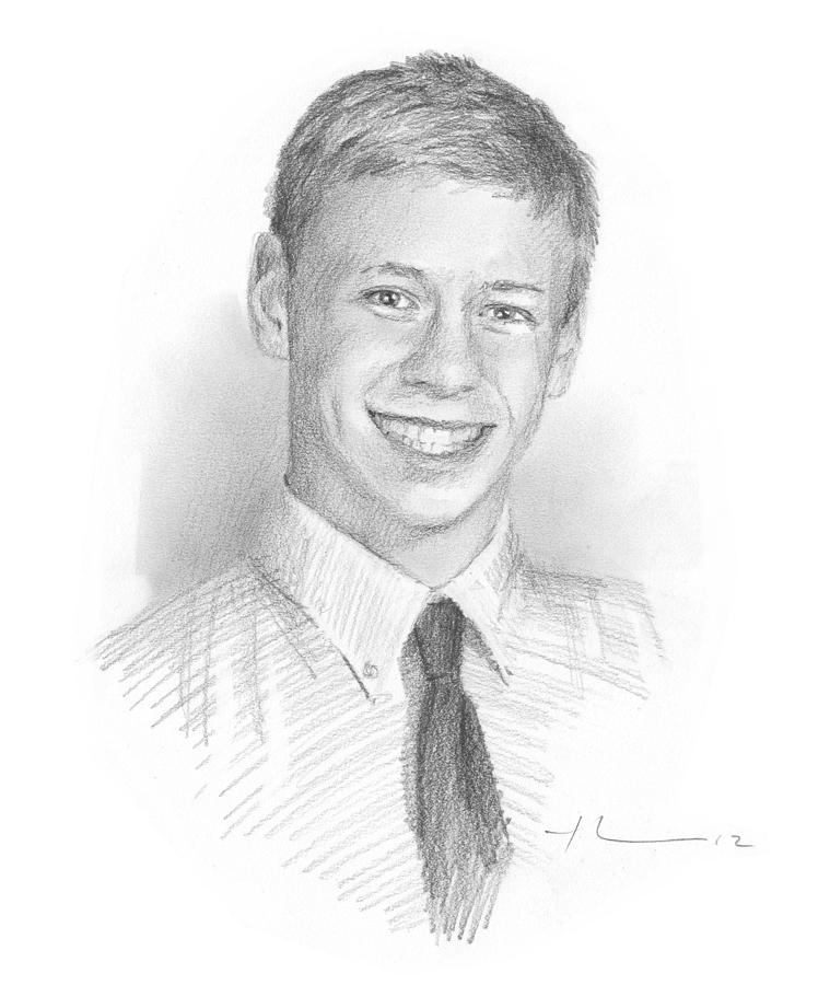 Highschool Boy Memorial Pencil Portrait Painting by Mike Theuer