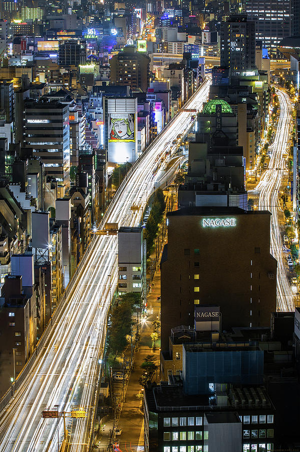 Highway At Night In Osaka With Traffic Photograph by Sandro Bisaro