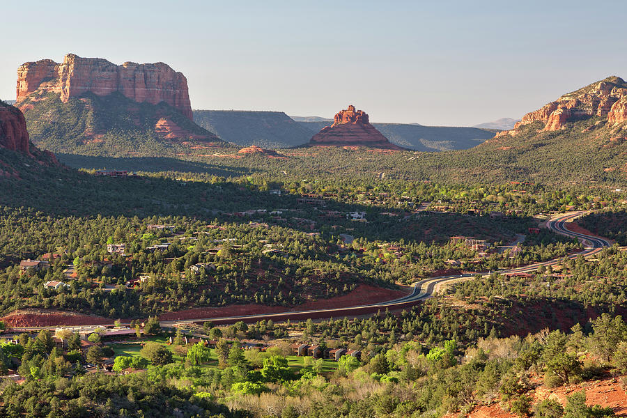 Highway, Courthouse Butte And Bell Photograph by Picturelake