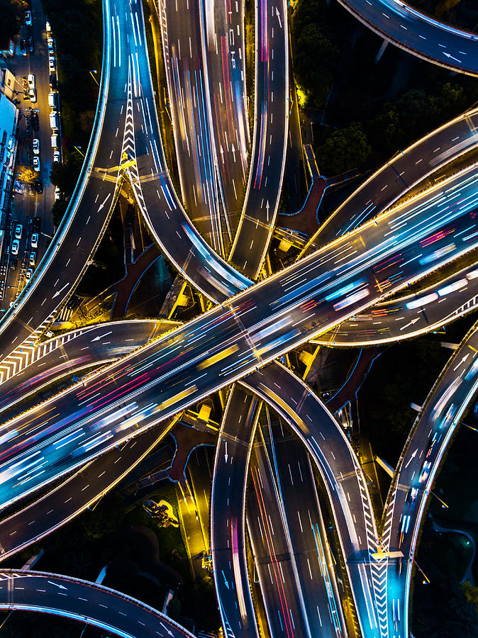 Highway junction aerial view Photograph by DKart
