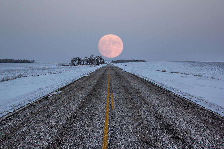 Road To Nowhere Photograph - Highway to the Moon by Aaron J Groen