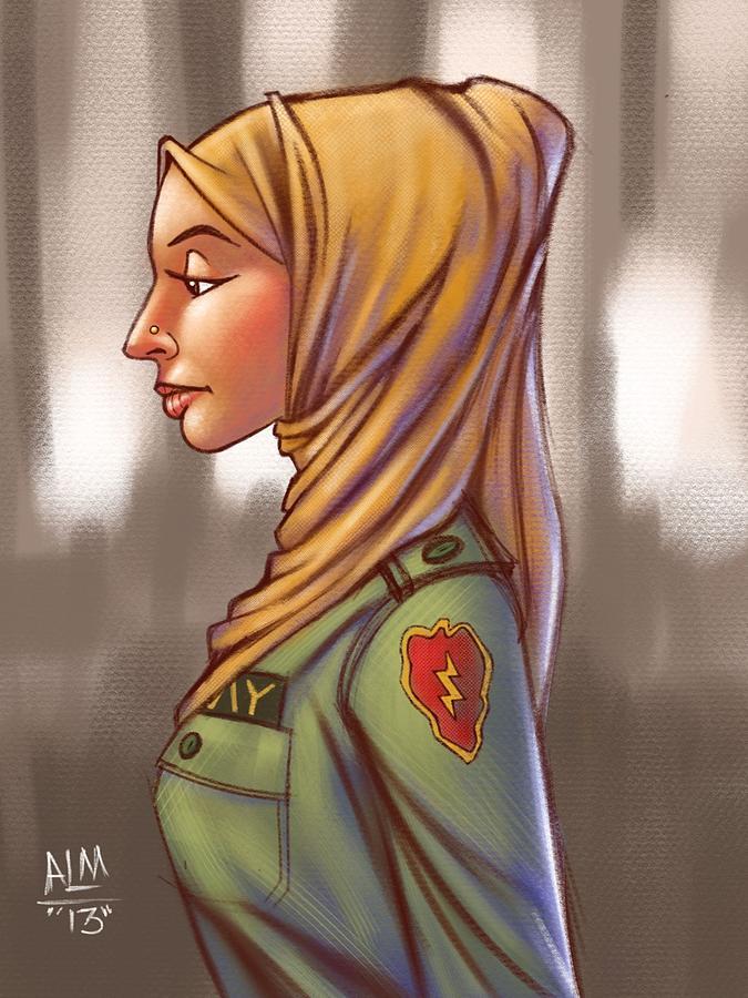 Hijab Fashionista Digital Illustration Painting By Anthony