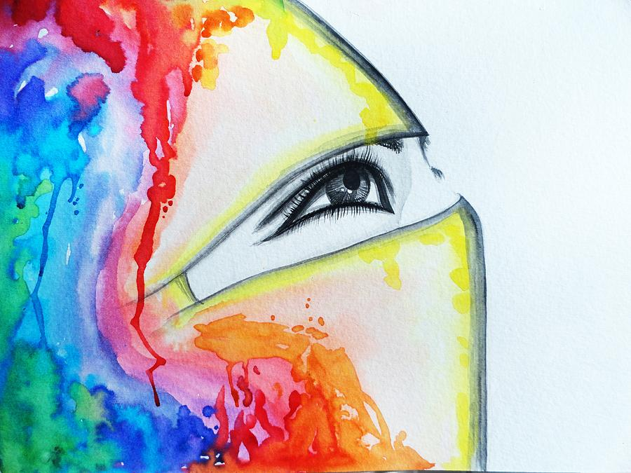 Hijab Painting - Hijab Veil by Salwa  Najm