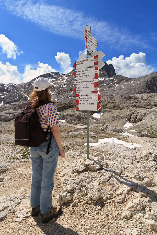 Alpine Photograph - Hiker And Directions by Antonio Scarpi