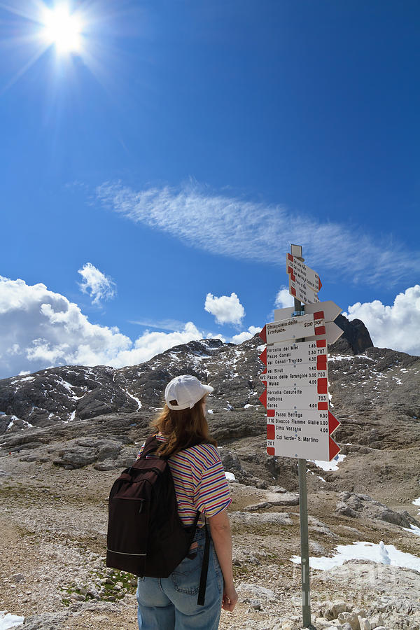 Alpine Photograph - Hiker Find The Way by Antonio Scarpi