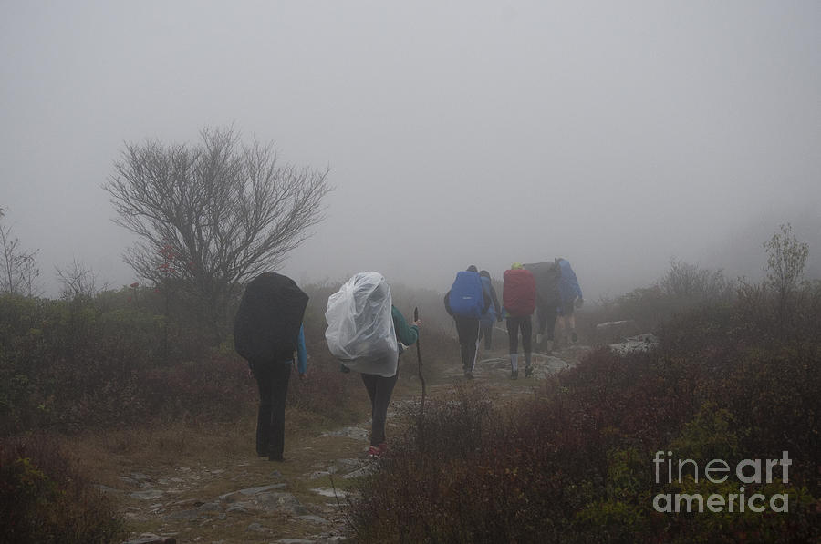 Hikers Photograph - Hikers Going Into The Fog At Dolly Sods by Dan Friend