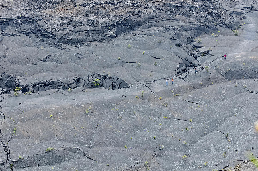 Hawaii Volcanoes National Park Photograph - Hikers On The Floor Of The Klauea Iki by Keri Oberly