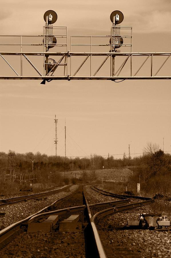 Sepia Photograph - Hikin The Tracks by Paul Wash