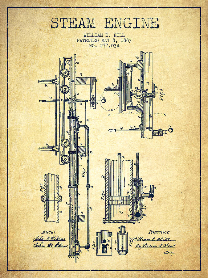 Hill Steam Engine Patent Drawing From 1883- Vintage Digital Art by
