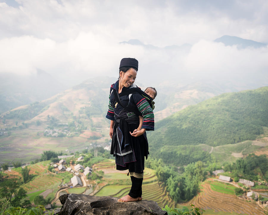 Hill Tribe Woman Carrying Baby On Her Photograph by Martin Puddy