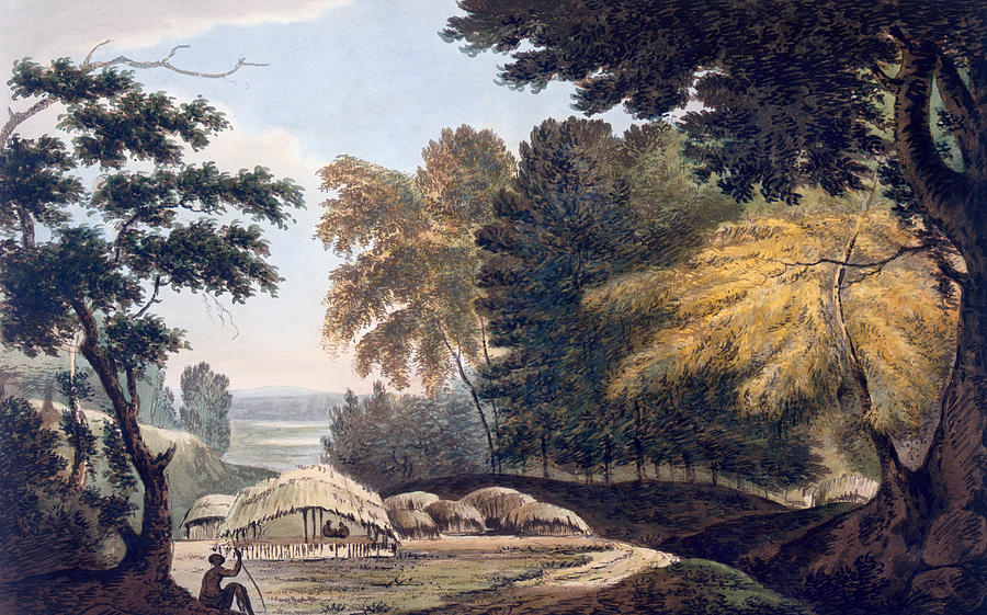 Indian Landscape Painting - Hill Village In The District Of Bauhelepoor by William Hodges