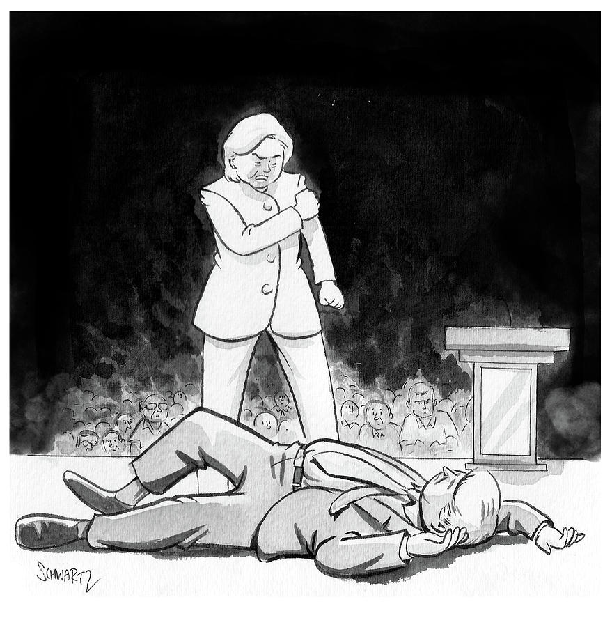 Hillary Clinton Knocks Out Donald Trump Drawing by Benjamin Schwartz