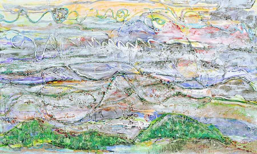 Texture Painting - Hills And Fog by Regina Valluzzi