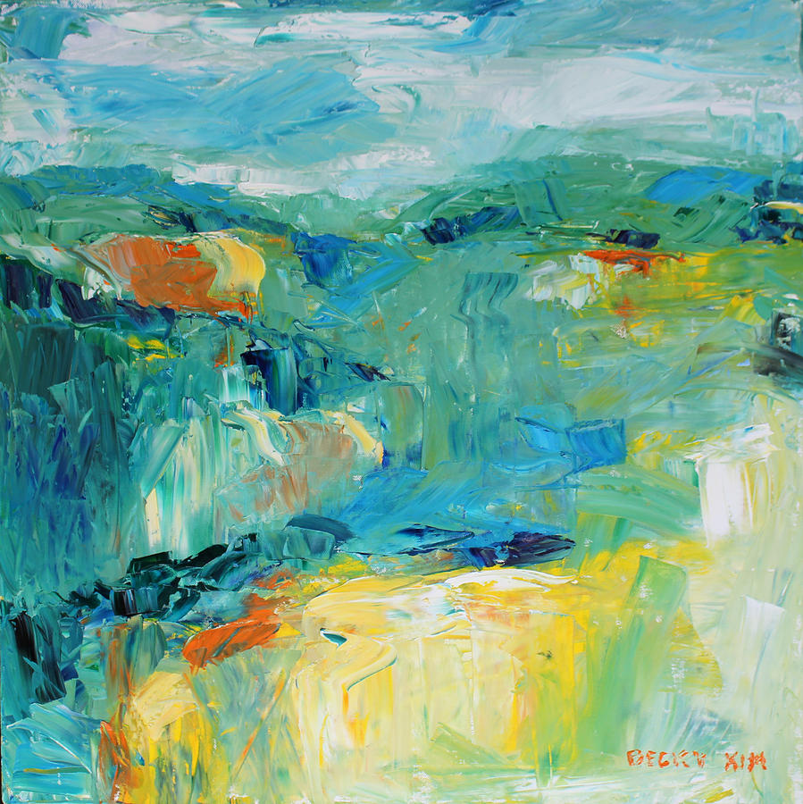 Oil Painting - Hills In Dream 1 by Becky Kim