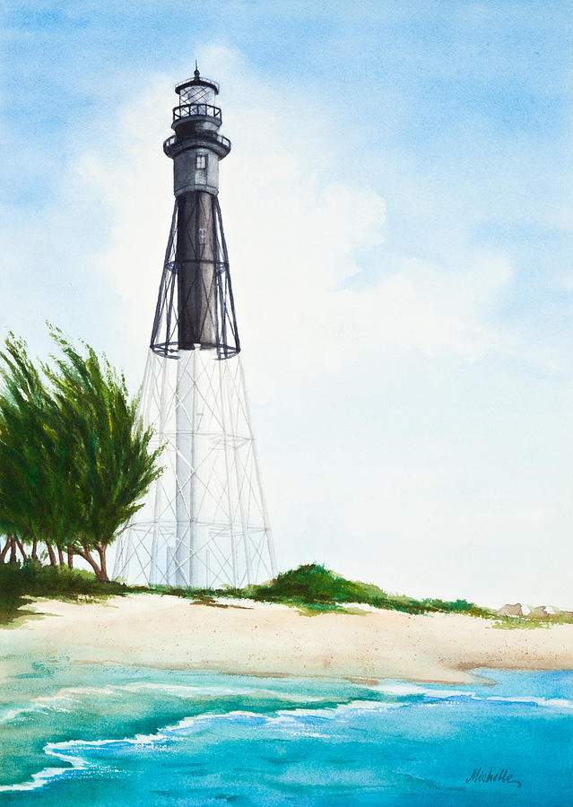 Hillsboro Point Inlet Florida Lighthouse Painting By