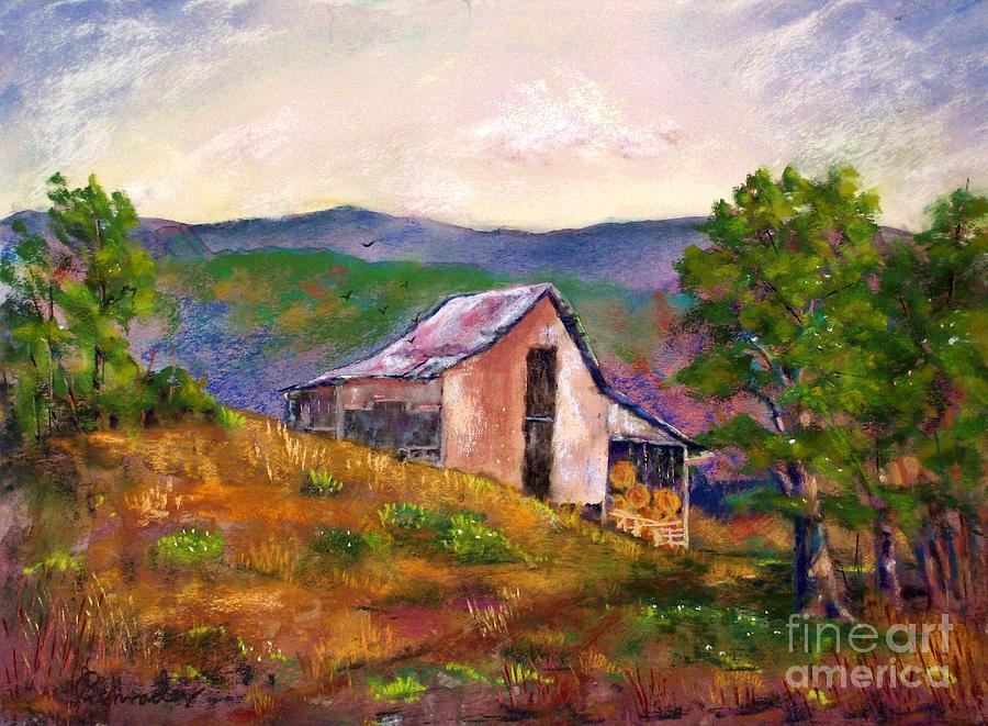 Landscape Pastel - Hillside Barn by Bruce Schrader