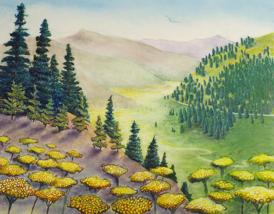 Hillside of Yarrow Flowers with Pine Tress by Michele Fritz