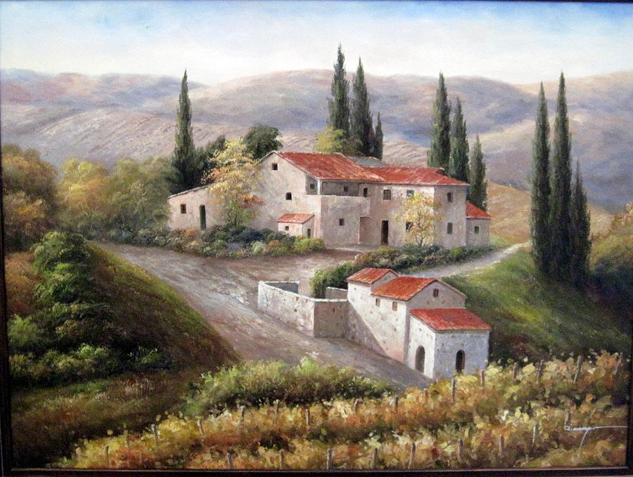 Hillside Villa Italy Painting By Frederick Cooper Collection