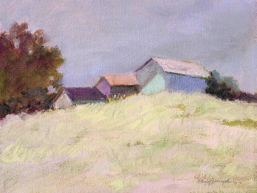 Barn Landscape Painting - Hilltop Barns by J Reifsnyder