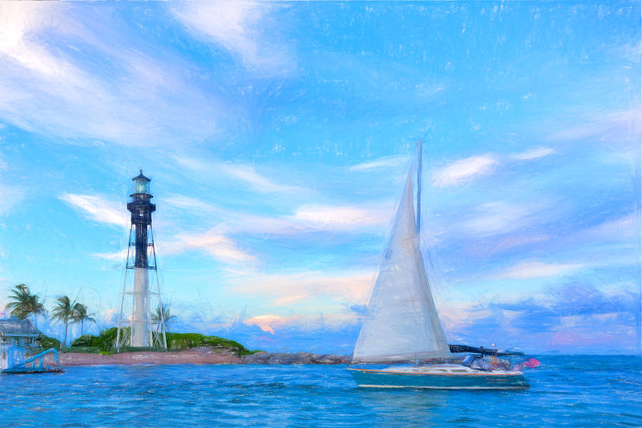 Hilsboro Lighthouse Colored Pencil Digital Art by Michael  Wolf