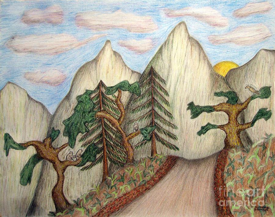 Landscape Drawing - Himalaya Dharamkot Path by Elizabeth Stedman