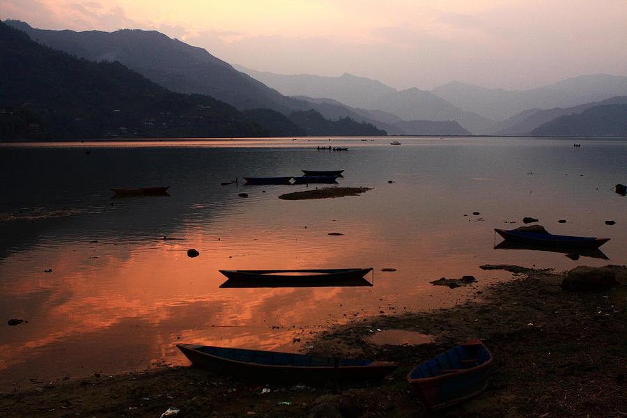 Sunset Photograph - Phewa Lake, Pokhara, Nepal by Aidan Moran