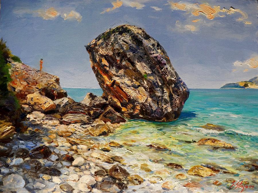 Sea Painting - Himaras Big Rock by Sefedin Stafa