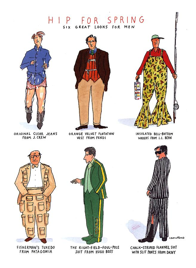 Hip For Spring Six Great Looks For Men Drawing by Michael Crawford