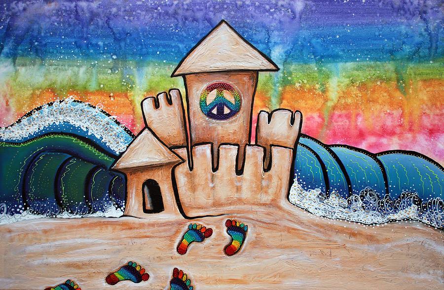 Ocean Painting - Hippie Sand Castle by Laura Barbosa