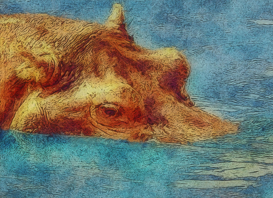 Hippopotamus Painting - Hippo - Happened At The Zoo by Jack Zulli