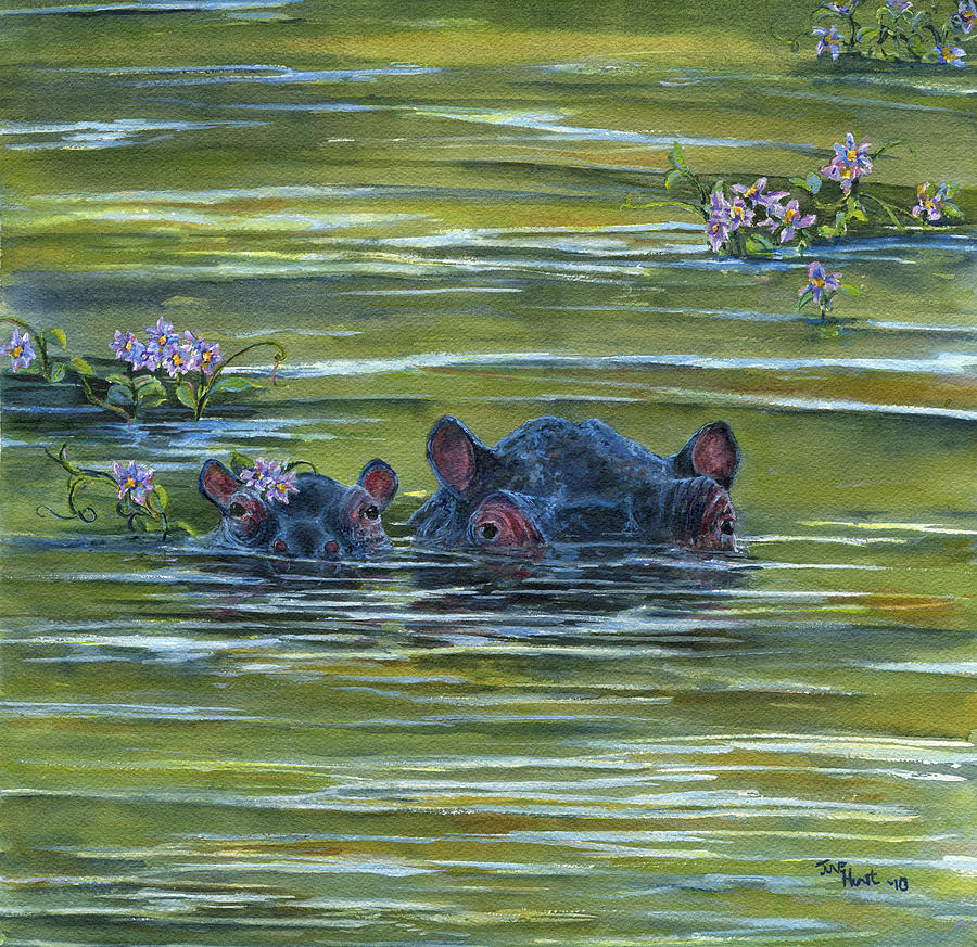 Hippo Painting - Hippos And Hyacinths by June Hunt