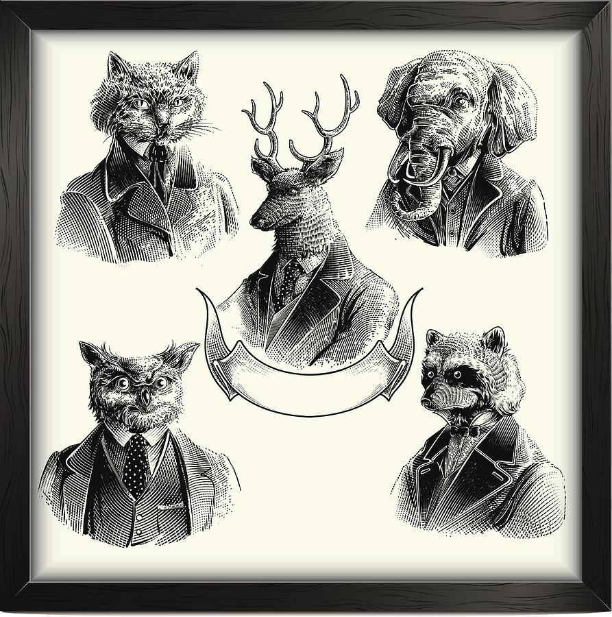 Hipster animals set Drawing by Man_Half-tube