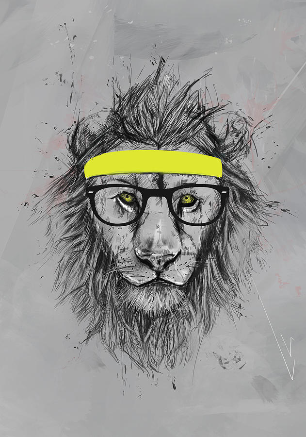 Hipster Lion Digital Art By Balazs Solti