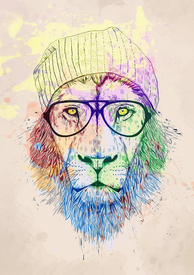 Lion Photograph - Hipster Lion by Joana San Jose