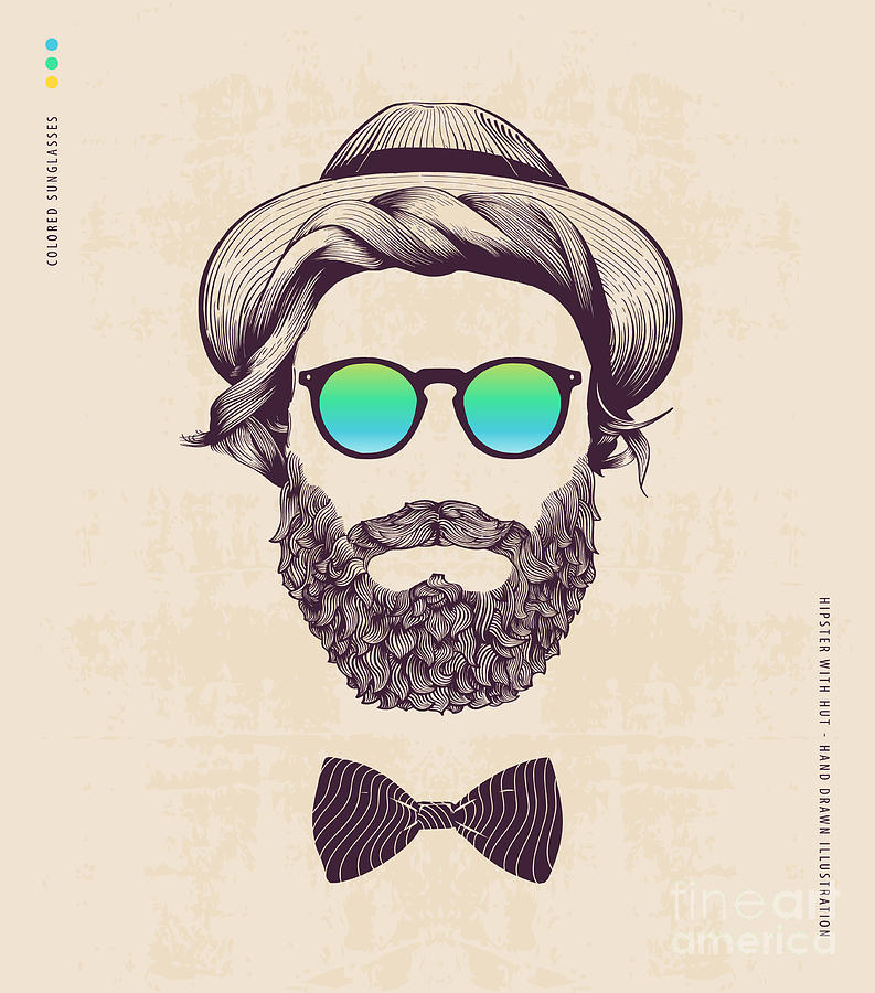 Jazz Digital Art - Hipster With Hat And Jazz-bow by Blau Ananas