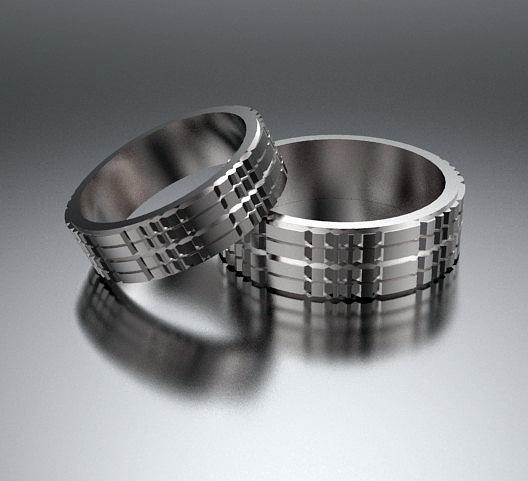 His And Hers Simple 14k White Gold Matching Wedding Bands Set