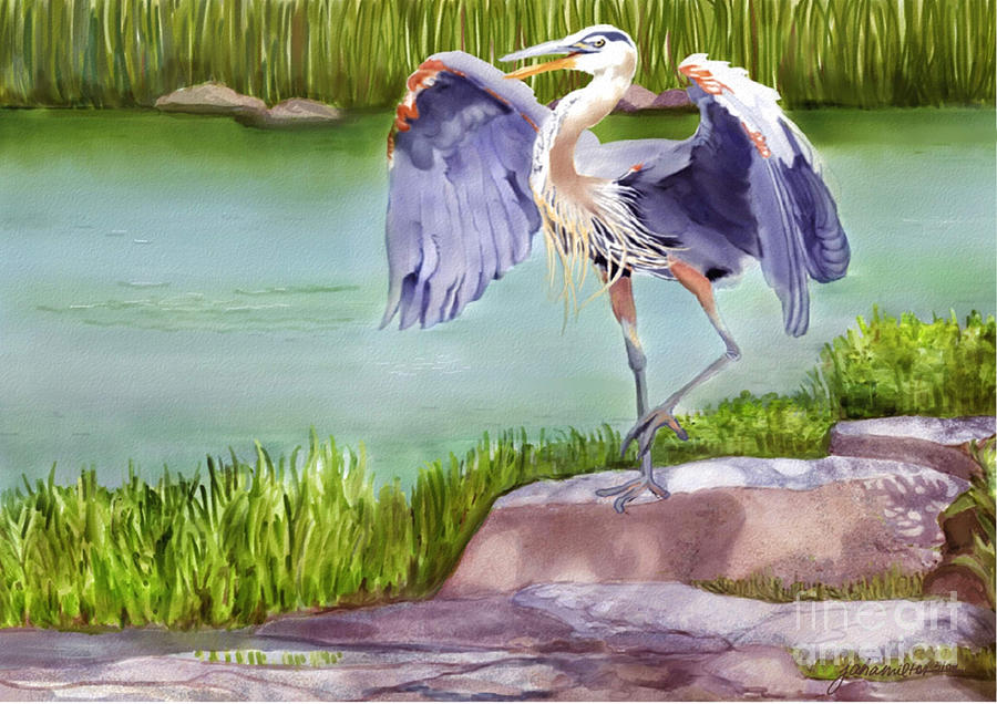 Great Blue Heron Painting - His Majesty by Joan A Hamilton
