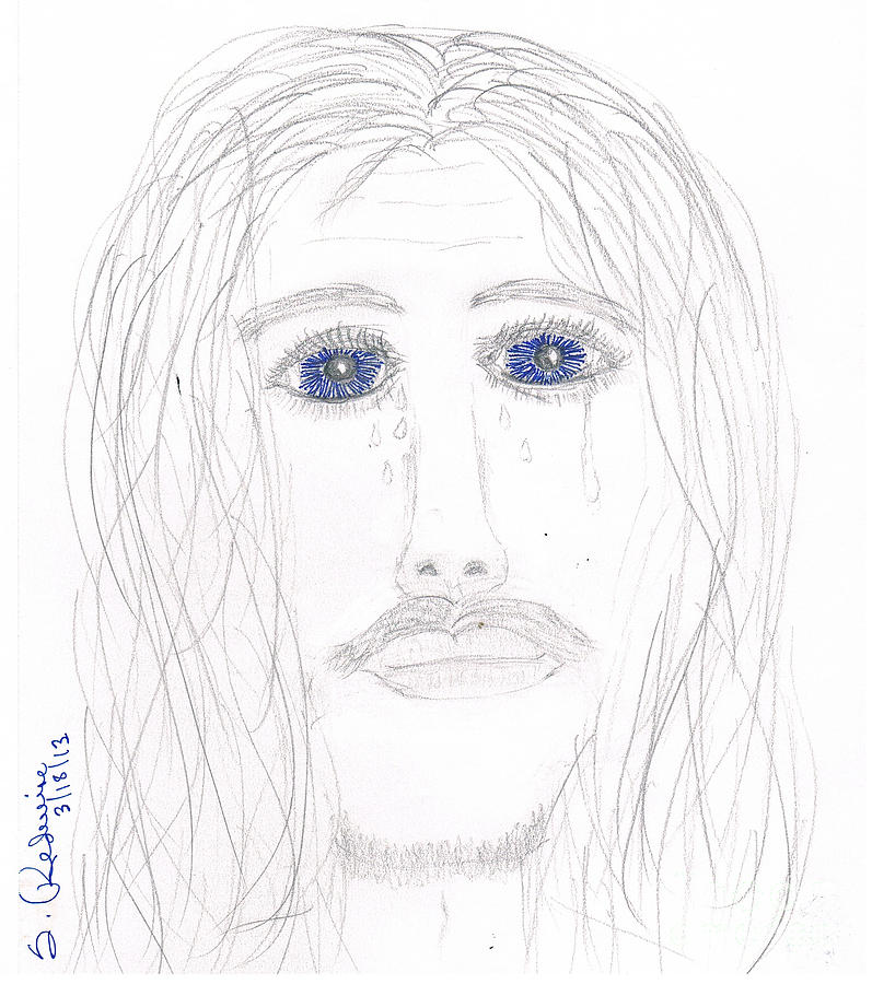 Jesus Drawing - His Tears by Shannon Redwine