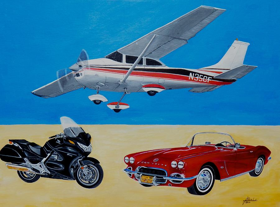 Planes Painting - His Toys by Jim  Reale