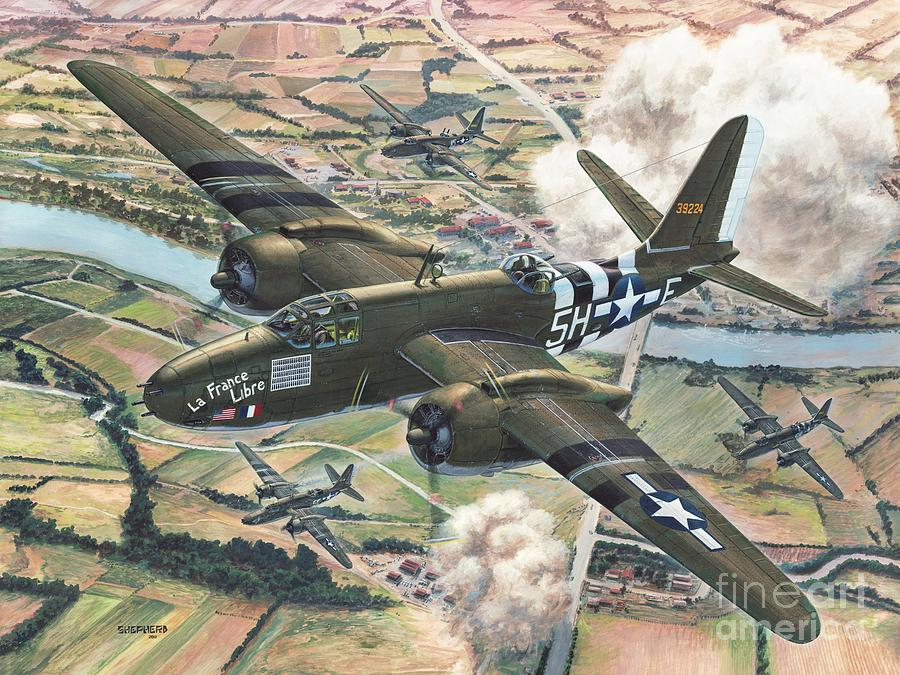 A-20 Painting - Historic A-20 Havoc by Stu Shepherd