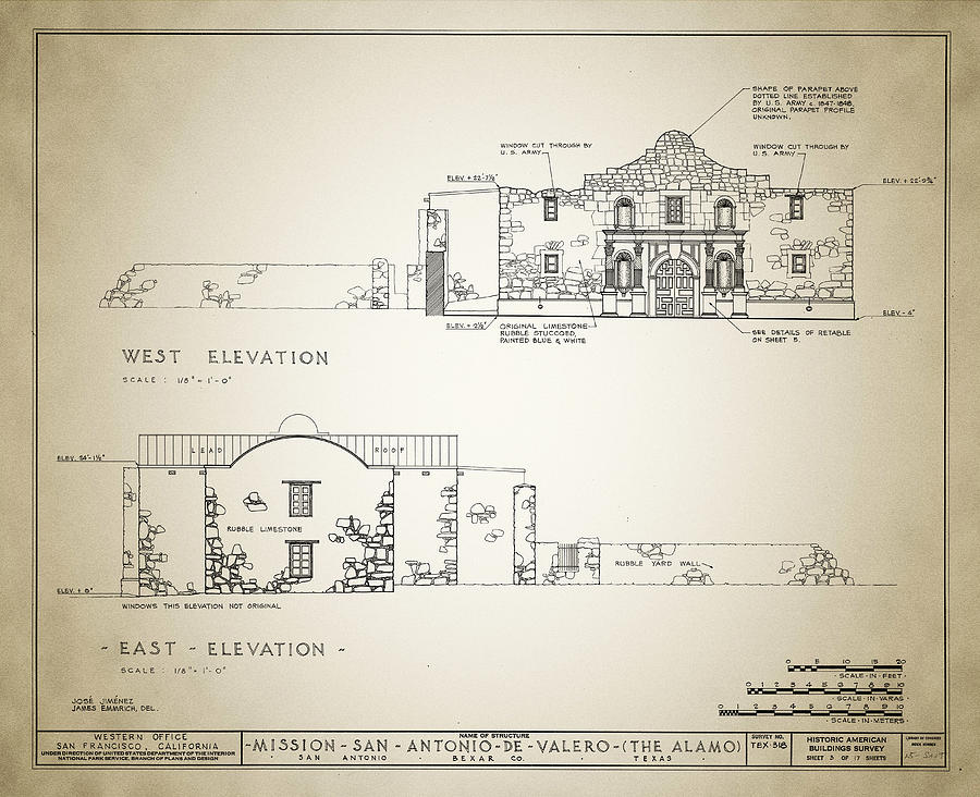 Historic Building Survey The Alamo Drawing By Bill Cannon
