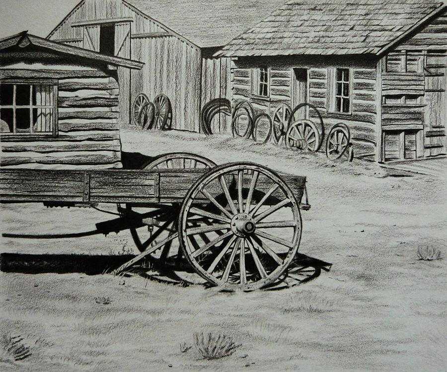 Cody Painting - Historic Cabins Cody Wyoming by Lucy Deane