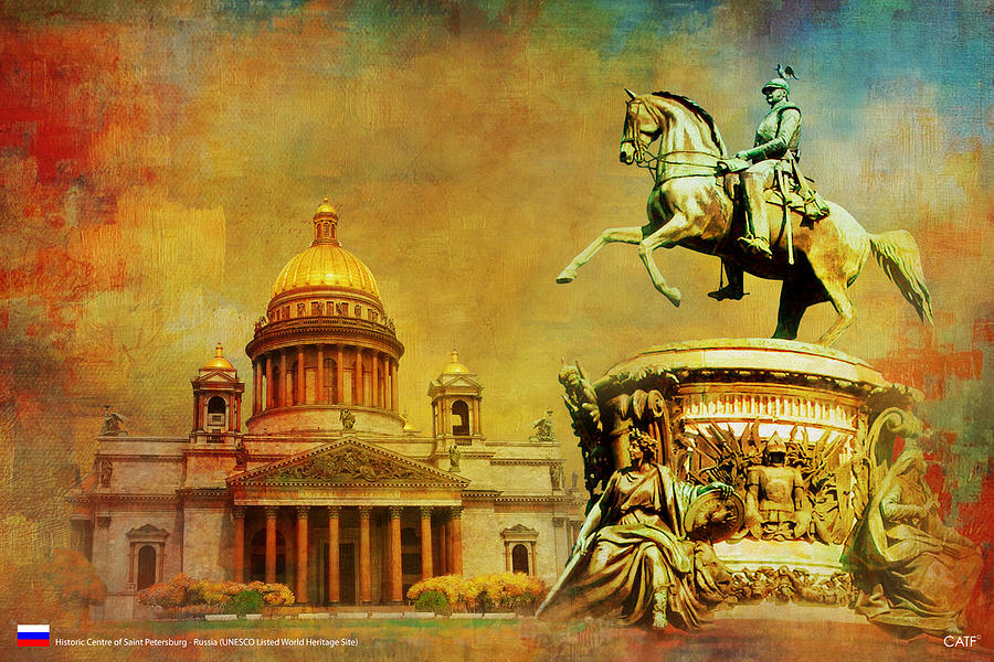 Historic Center Of Saint Petersburg Painting by Catf